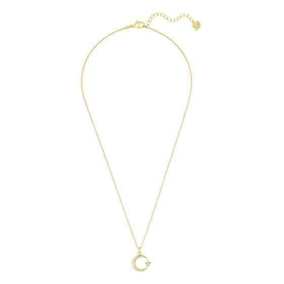 Colar-Crescent-And-Star-Branco-Metal-Dourado