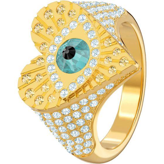Anel-Lucky-Goddess-Heart-Motif-Multicolor-Banho-de-ouro