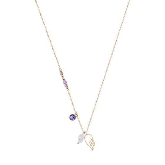 Colar-Swarovski-Symbolic-Wing-Roxo-Revestido-em-tom-de-Ouro-Rosa