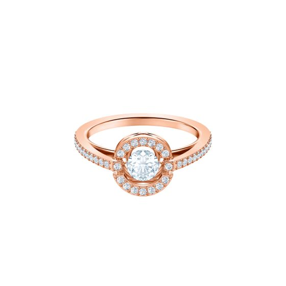 Anel-Swarovski-Sparkling-Dance-Round-Branco-Revestido-em-tom-de-Ouro-Rosa