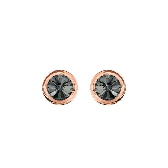 Abotoaduras-Round-Cinza-Revestido-em-tom-de-Ouro-Rosa