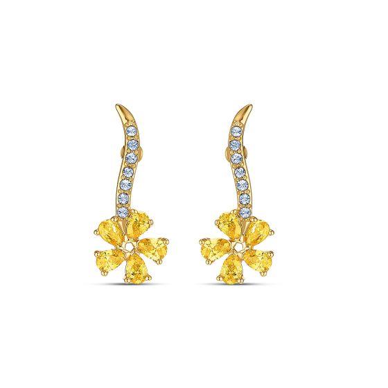 Brincos-Botanical-Flower-Amarelo-Revestido-em-Tom-de-Ouro
