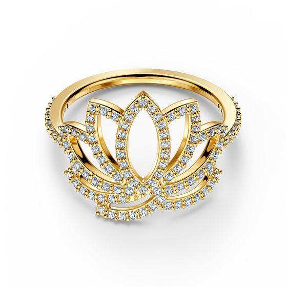Anel-Swarovski-Symbolic-Lotus-Branco-Revestido-em-Tom-de-Ouro