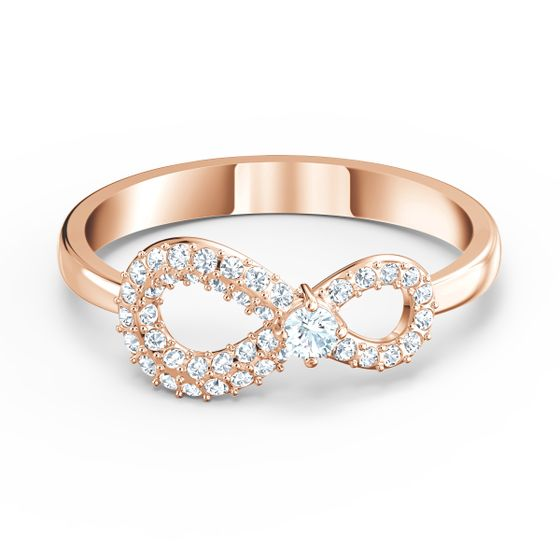 Anel-Swarovski-Infinity-Branco-Revestimento-em-Tom-de-Ouro-Rosa