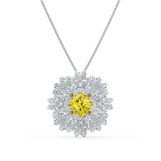 Broche-Eternal-Flower-Amarelo-Acabamento-em-Mix-de-Metais