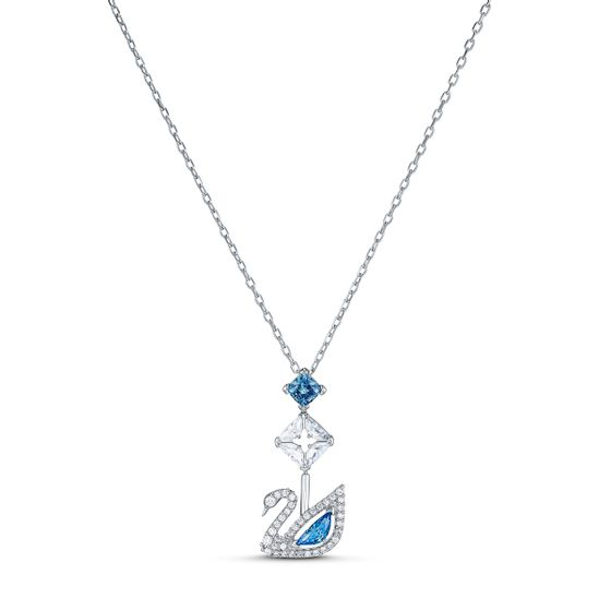 Colar-Dazzling-Swan-Azul-Revestido-a-Rodio