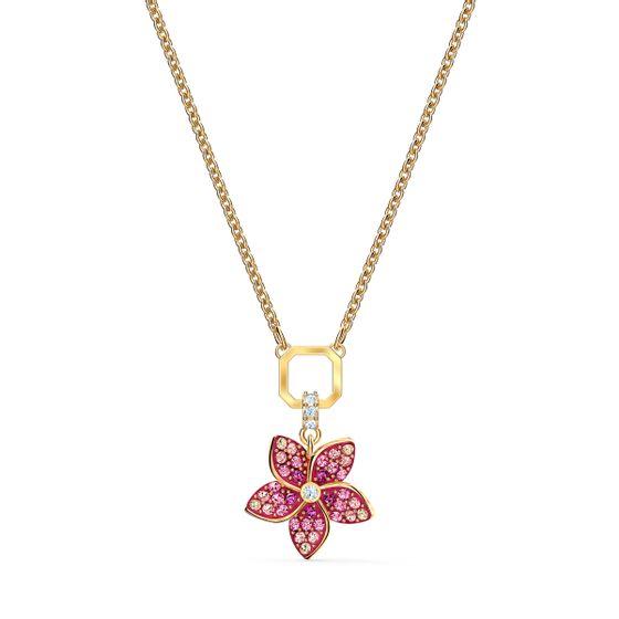 Pingente-Tropical-Flower-Rosa-Revestido-em-Tom-de-Ouro