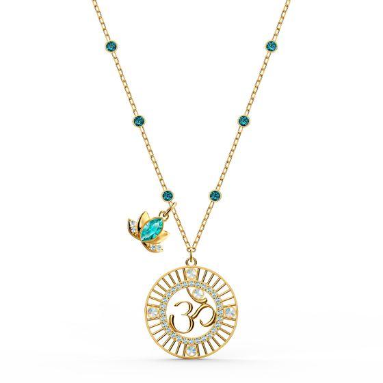 Pingente-Swarovski-Symbolic-Lotus-Verde-Revestido-em-Tom-de-Ouro