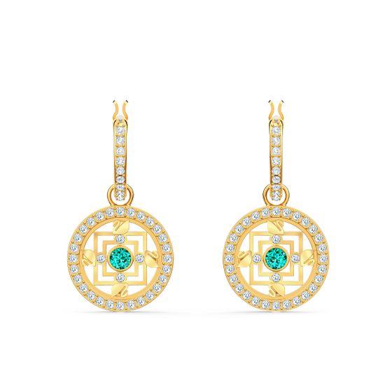 Brincos-Swarovski-Symbolic-Mandala-Hoop-Verde-Revestidos-em-Tom-de-Ouro