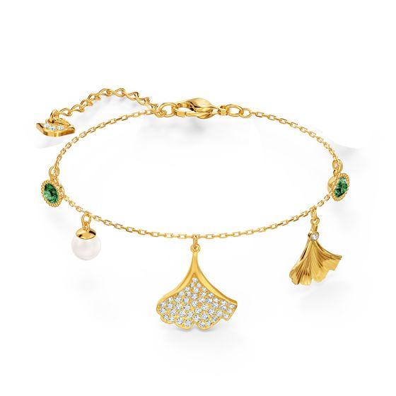 Pulseira-Stunning-Ginko-Verde-Revestido-em-Tom-de-Ouro