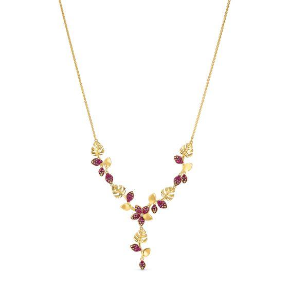 Colar-em-Y-Tropical-Flower-Rosa-Revestido-em-Tom-de-Ouro