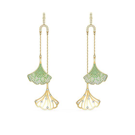 Brincos-Stunning-Ginko-Mobile-Verde-Revestido-em-Tom-de-Ouro