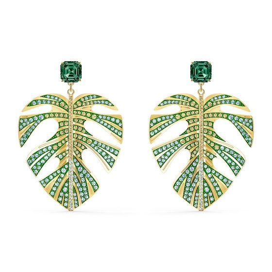 Brincos-Tropical-Leaf-Verde-Revestido-em-Tom-de-Ouro