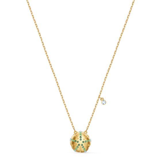 Pingente-Shine-Urchin-Verde-Revestido-em-Tom-de-Ouro