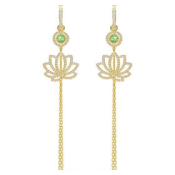 Brincos-Swarovski-Symbolic-Lotus-Verde-Revestido-em-Tom-de-Ouro