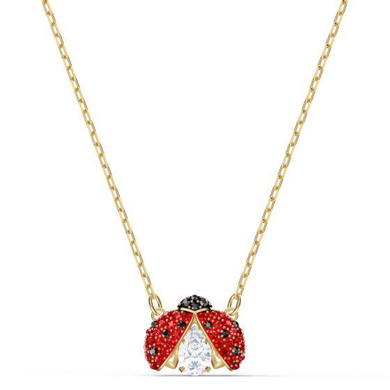 Colar-Swarovski-Sparkling-Dance-Ladybug-Vermelho-Revestido-em-Tom-de-Ouro