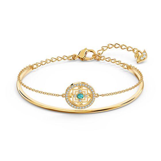 Pulseira-Swarovski-Symbolic-Mandala-Verde-Revestido-em-Tom-de-Ouro