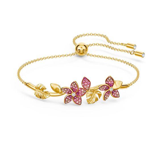 Pulseira-Tropical-Flower-Rosa-Revestida-em-Tom-de-Ouro