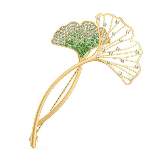 Broche-Stunning-Ginko-Verde-Revestido-em-Tom-de-Ouro