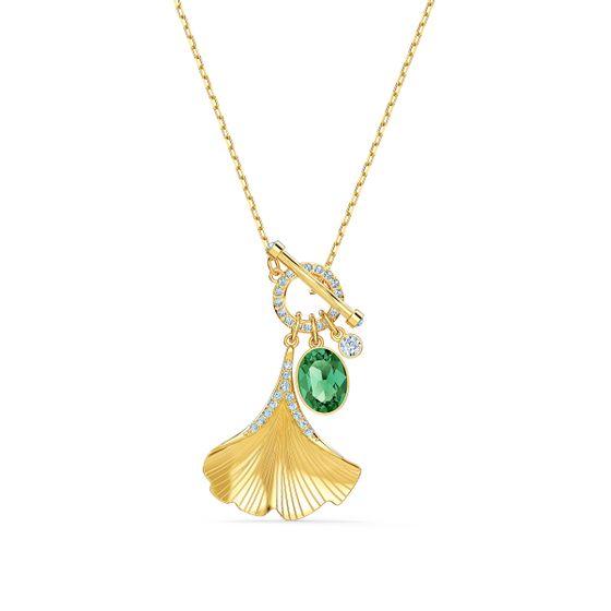 Colar-Stunning-Ginko-Verde-Revestido-em-Tom-de-Ouro