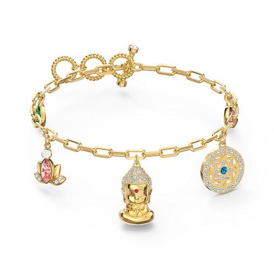 Pulseira-Swarovski-Symbolic-Buddha-Multicolor-Revestido-em-Tom-de-Ouro