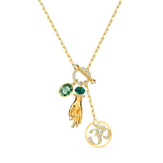 Pingente-Swarovski-Symbolic-Hand-Om-Verde-Revestido-em-Tom-de-Ouro