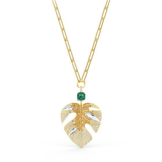 Pingente-Tropical-Leaf-Multicolor-Revestido-em-Tom-de-Ouro