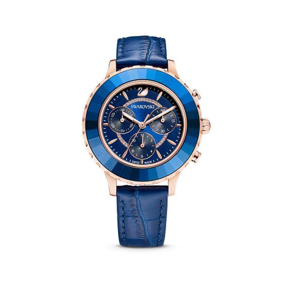Relogio-Octea-Lux-Chrono-pulseira-de-cabedal-azul-PVD-rosa-dourado