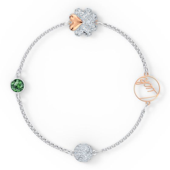 Amuleto-em-forma-de-trevo-da-Swarovski-Remix-Collection-verde-acabamento-com-varios-metais