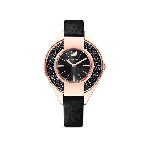 Relogio-Crystalline-Sporty-pulseira-de-cabedal-preto-PVD-rosa-dourado