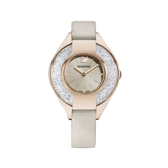 Relogio-Crystalline-Sporty-pulseira-de-cabedal-cinzento-PVD-champanhe-dourado