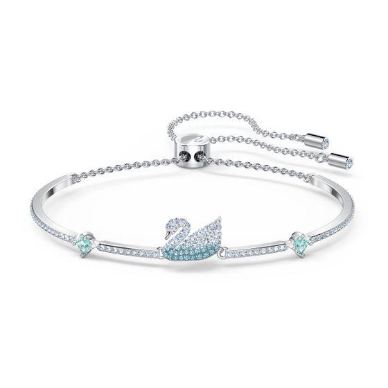Pulseira-bangle-Iconic-Swan-azul-banhada-a-rodio