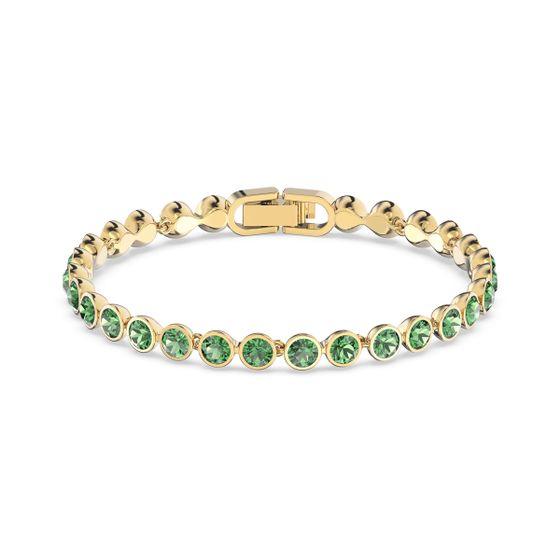 Pulseira-Tennis-verde-banhada-com-tom-dourado