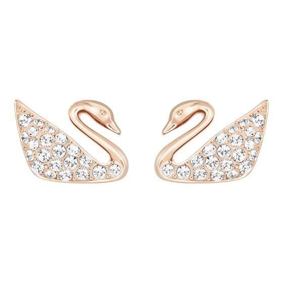Brincos-Swan-Mini-Branco-Revestido-em-Tom-de-Ouro-Rosa