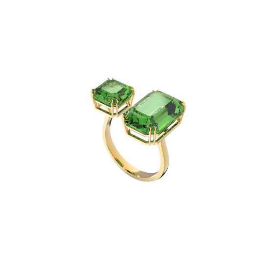 Anel-cocktail-Millenia-Cristais-de-corte-octogono-Verde-banhado-a-dourado